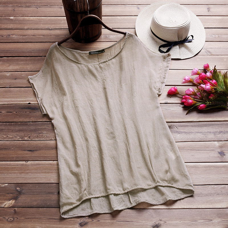 Anzea casual women blusas summer blouse cotton linen loose o neck short batwing sleeve irregular