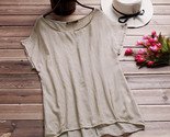 Omen blusas summer blouse cotton linen loose o neck short batwing sleeve irregular thumb155 crop