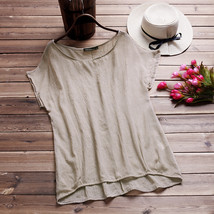 2018 ZANZEA Casual Women Blusas Summer Blouse Cotton Linen Loose O Neck Short Ba - $37.20
