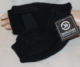 Isotoner Signature Chunky Solid Flip Top Sherpa Lined Black Mittens NEW - $10.64