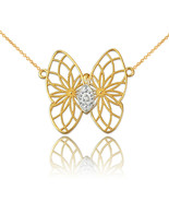 14K Yellow Gold Filigree Butterfly Diamond Necklace - $179.99+