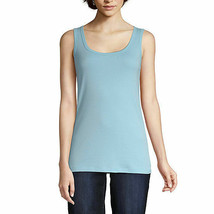 St. John's Bay Women's Scoop Neck Tank Top Size Large Precious Blue 100% Cotton  - $11.87