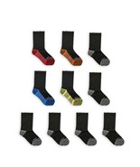 Fruit of the Loom Boys Crew Socks, 10 Pack, Size M, 9 to 2-1/2, Black - $14.95
