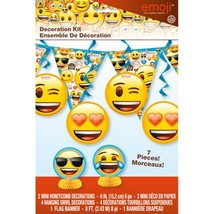 Emoji 7 Pc Decorating Set Centerpiece Swirls Banner Birthday Party - $8.99