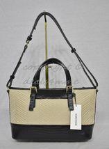 NWT Brahmin Mini Asher Satchel/Shoulder Bag in Black Miramonte-Cream with Black image 5