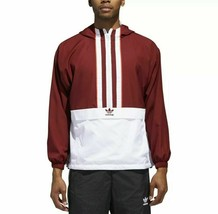 adidas Men Originals Anorak Jacket Noble Maroon DJ2853 Size Large MSRP $100 - $69.95