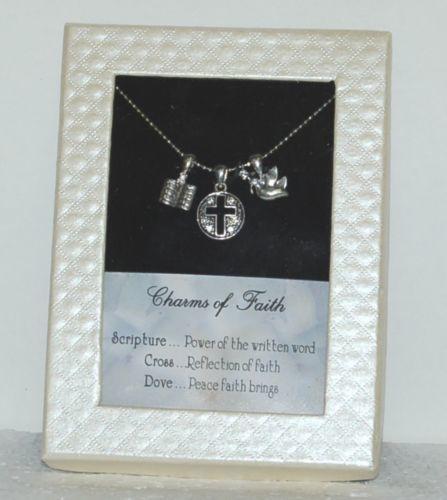 DM Merchandasing CHOFNK Silver Color Charms of Faith Bible Cross Dove Necklace