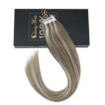Sunny 18inch Human Hair Extensions Blonde Tape in Extensions #14 Dark Golden Blo image 5