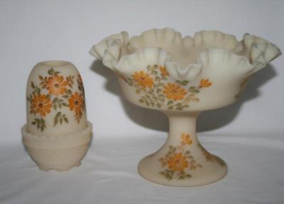 Signed Fenton Satin Custard Fairy Lamp & Compote Yellow Flowers image 8