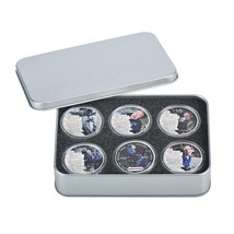 WR Coin Tin Silver Case Display Box Storage Holder for 6 40mm Coins Collect Item image 2