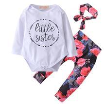 Cute long sleeve floral romper+pants+headband infant - $17.86
