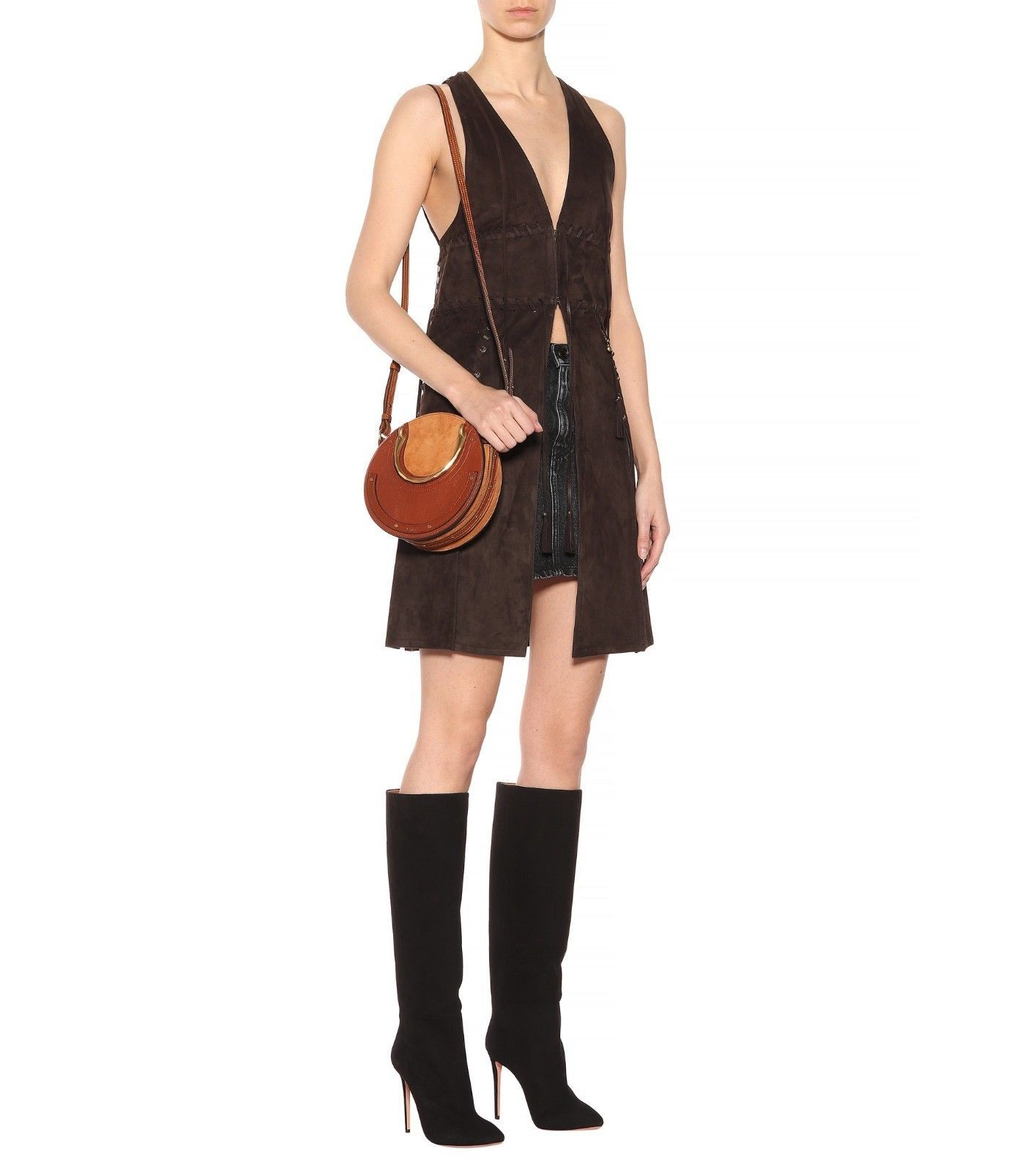 New Smooth Chocolate-hued Suede Women\s Soft Lambskin Hot Mini Dress