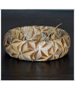 Ivory and Gold Stars Winter Metallic Fabric Bangle Wood Wooden Dome Brac... - $10.00