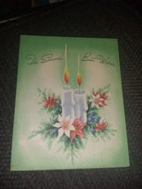 Candles & Poinsettias Vintage Christmas Card - $3.00