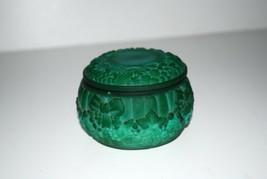 Malachite Glass Powder Jar Dresser Box Trinket Box - $143.55