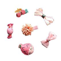 Soft Cloth 6 Pieces Small Pink Fish Hair Clip Set Little Girl Hair Pins Barrette