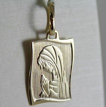 18K YELLOW GOLD SQUARE MEDAL VIRGIN MARY MADONNA ENGRAVABLE MADE IN ITALY image 1