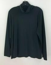 J Jill Pure Jill Medium Pima Stretch Turtleneck Shirt Top Black Long Slv... - $24.14