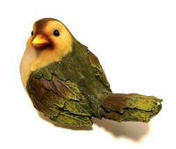 Bird Figurine Wood Look Resin Green Leaf Feathers 3.25 inches Tall   - $27.72