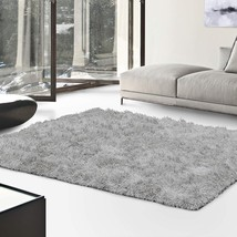 De Luxe Silver Retro Hand-Tufted Soft Shag Area Rug & Runners Multiple S... - $57.95+