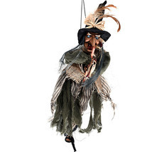 Halloween Witch Toys Hanging Horror Haunted Woman Broom Party Props - $33.49