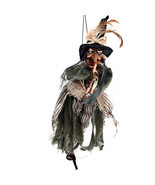 Halloween Witch Toys Hanging Horror Haunted Woman Broom Party Props - $30.14