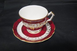Vintage Aynsley Footed Cup And Saucer Numbered 1215 Red And Gold - $49.49