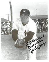 Johnny Mize signed New York Yankees B&W 8x10 Photo To J McCord Best Wishes - $15.00