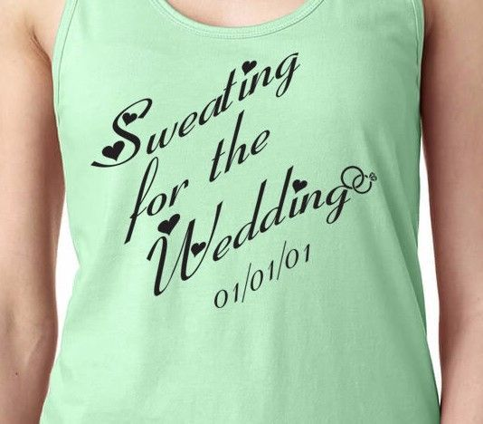 SWEATING FOR THE WEDDING Married Healthy Fit PERSONALIZE Women's Workout Tank