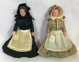 "Vintage Pair of 5"" Hard Plastic Dolls in Victorian Clothing - $9.49"