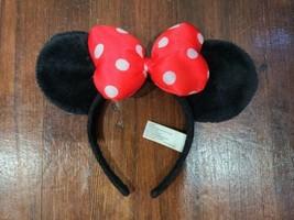 Disney Parks Minnie Mouse Black Velour Ears Headband w/ Red White Polka ... - $12.59