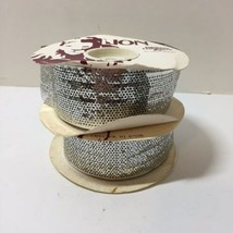 "Silver Metallic Ribbon 1 & 5/8"" x 40 Yards Lion Ribbon Harlow Size 9 - $33.85"