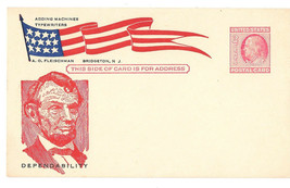 UX38 Postal Card Lincoln Patriotic Flag Cachet A O Fleischman Bridgeton NJ - $4.99
