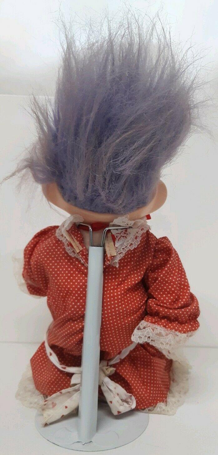 "Applause #46 Magic Trolls 12"" Vtg White Red Heart Dress Lace Purple Hair Custom"