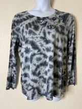 Style & Co Womens Size XL Gray Tie Dye Blouse Embellished - $11.60