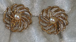 Vintage flower faux pearl circle button cluster clip on earnings 1960s - $15.00