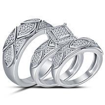 Designer Mens Ladies Engagement Trio Ring Set White Gold Plated 925 Silv... - $155.99