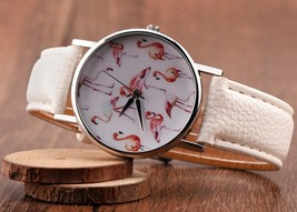 Round Lovely Flamingo Watches Women White Leather Casual Wristwatch image 3