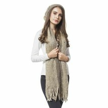 Designer Coffee Colour Knitted Scarf with Tassels (Size 166X16 Cm) and Hat  - $6.44