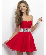 Women's Above Knee Length Red Chiffon Homecoming Dress Crystal Party Gow... - $121.88
