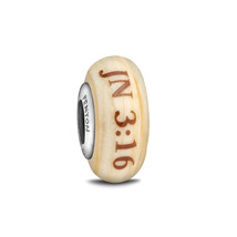 Fenton Art Glass Bracelet Bead Charm God's Love John 3:16 Religious Jewe... - $35.00