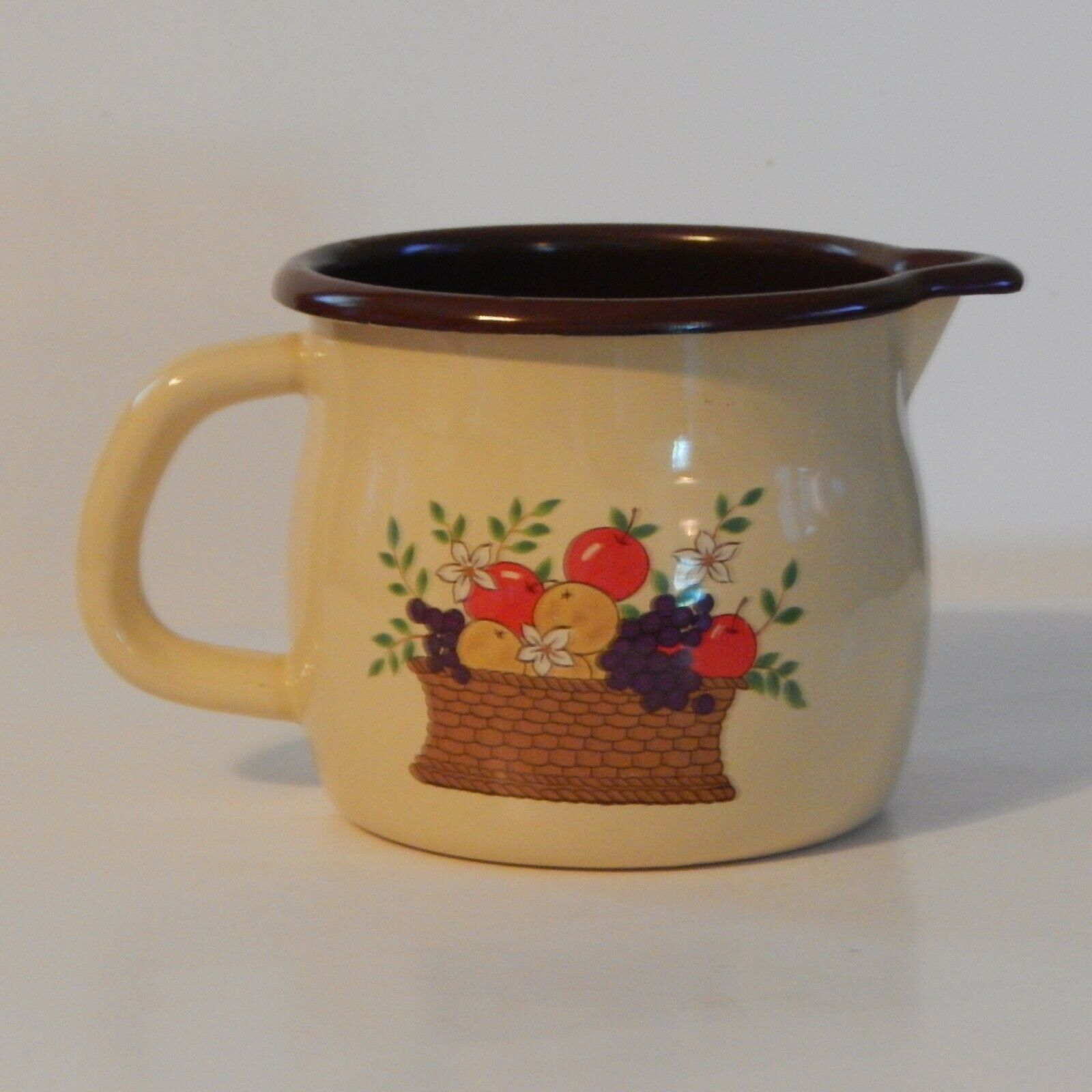 Primary image for Vintage Brown and Tan FTD Enamelware Pitcher Planter with Fruits in Basket Desig