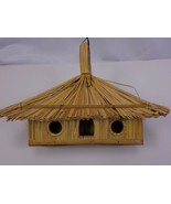 13x9x6inches RECTANGULAR THATCHED ROOF BIRDHOUSE WOOD BAMBOO HANGING BIR... - £23.54 GBP