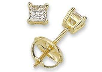 Primary image for 14k Yellow Gold Princess Cut Diamond Stud Earrings 1.50 Carats