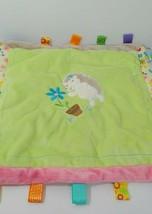 Taggies hedgehog baby security blanket flower pot green flowers satin back  - $26.72