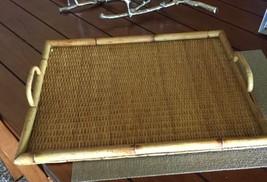 Large Vintage Bamboo Rectangular Serving Tray - $46.71