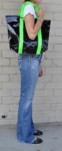 Marc By Marc Jacobs Shiny Designer Handbags Shoulder Purse Tote Black Green S - $26.73