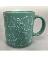 Taylor  & Ng Elephant Orgy Naughty Coffee Mug Cup 8 oz Teal Green 1979  - $31.85