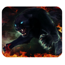 Mouse Pad Black Panthers With Fire Wild Animal Editions For Game Animation - $9.00