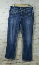 Silver Jeans Womens Suki Mid Crop Sz 28 Embellished Pockets Faded Sandbl... - $14.84